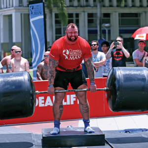Hafthor Bjornsson using Strong-Enough Lifting Straps