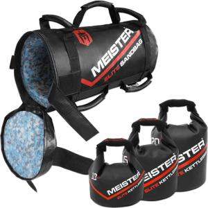 Three Kettlebells in Meister Elite Fitness Sandbag, by Meister MMA