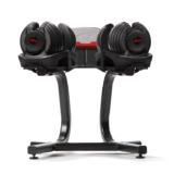 SelectTech 1090 Adjustable Dumbbells by Bowflex on stand