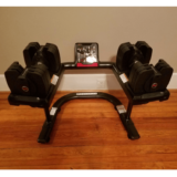 SelectTech 560 Adjustable Dumbbells on weight-stand