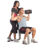 Shoulder press with PowerBlock Elite dumbbells