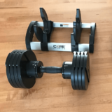 Core Fitness adjustable dumbbells and weight rack