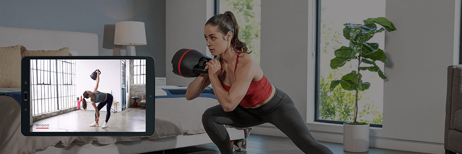 Exercise lunges with Bowflex SelectTech adjustable kettlebell